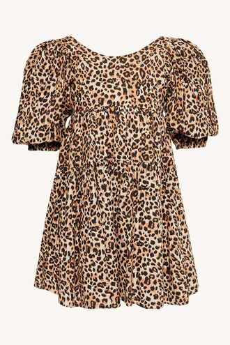 LEOPARD TIERED DRESS in colour LATTE