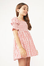 JUNIOR GIRL GINGHAM SHIRRED DRESS in colour TANGO RED