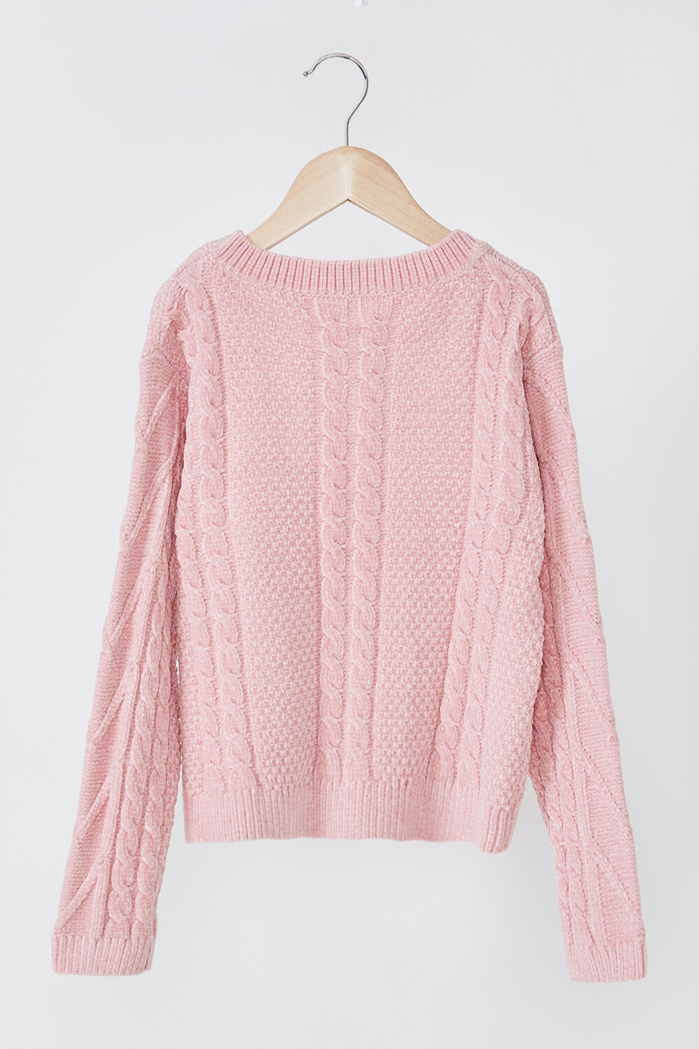 GIRLS STELLA CABLE KNIT SWEATER in colour PALE DOGWOOD