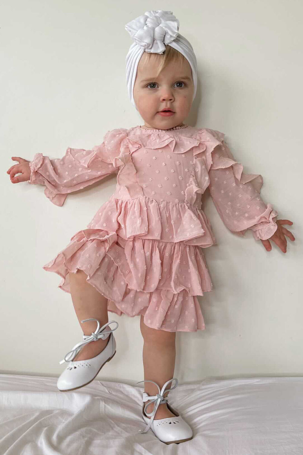 baby girl TAYLOR TIER DRESS in colour PRIMROSE PINK
