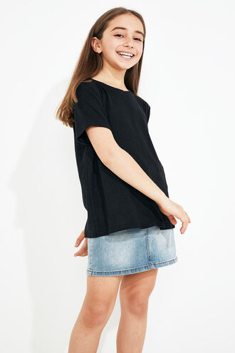 LINEN BLEND TEE in colour CAVIAR