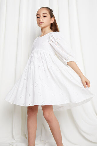 BRODERIE TIER DRESS in colour CLOUD DANCER
