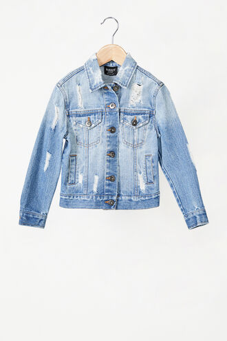 RIPPED DENIM JACKET in colour ILLUSION BLUE