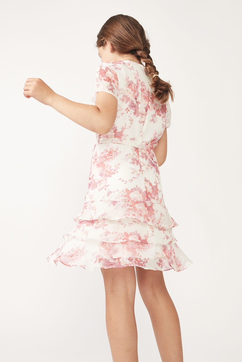 TWEEN GIRL TRIPLE FRILL FLORAL DRESS in colour ROSEWATER