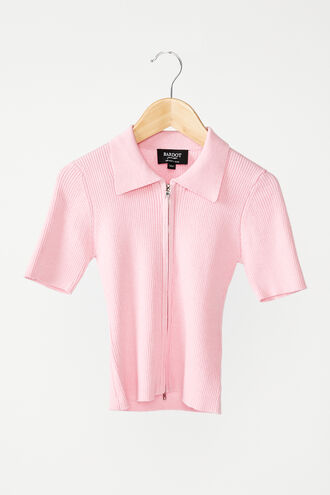 KNIT COLLAR TEE in colour PINK LADY