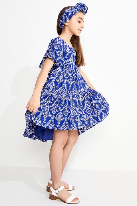 TWEEN GIRL TIE BACK TIERED DRESS in colour BALLAD BLUE