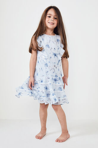 SADIE TRIM DRESS in colour BIT OF BLUE