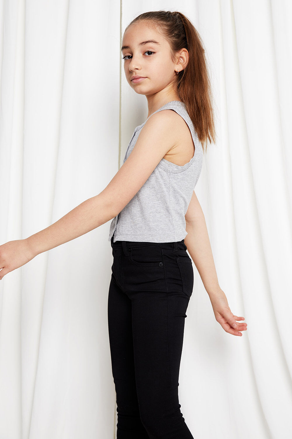 TWEEN GIRL BUTTON FRONT TANK  in colour SMOKED PEARL
