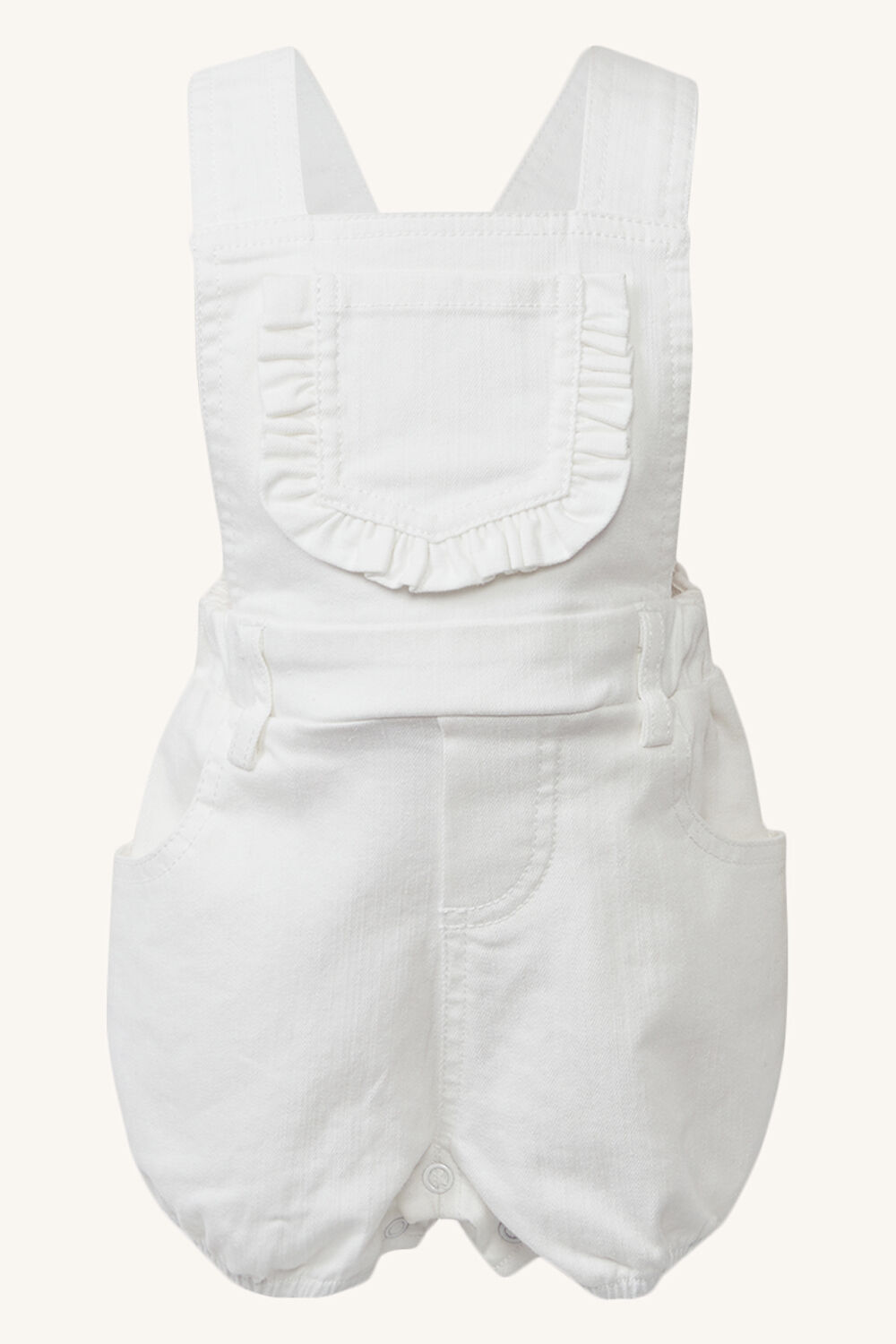 BABY GIRLS BOWIE OVERALL in colour CLOUD DANCER