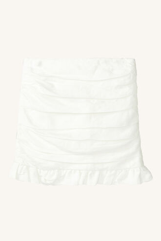 LINEN ROUCHED SKIRT in colour BRIGHT WHITE