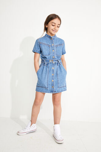 STACEY DENIM DRESS in colour MIDNIGHT NAVY