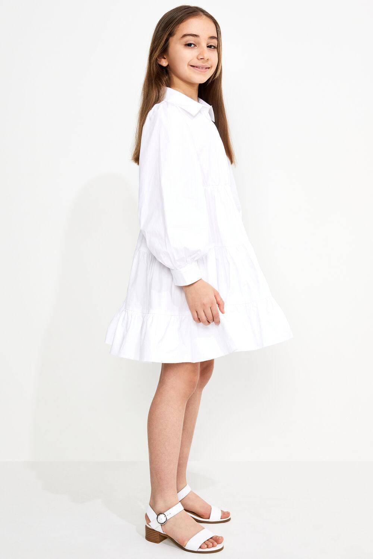 TWEEN GIRL MINI POPLIN DRESS in colour BRIGHT WHITE