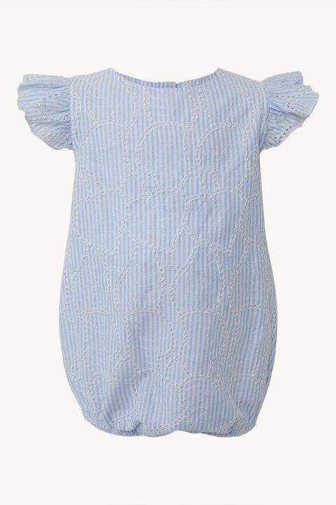 BABY GIRL MINI STRIPE BRODERIE GROW in colour BURNT OLIVE