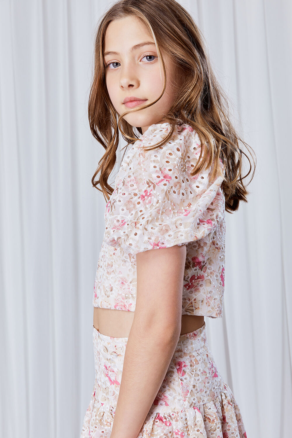 GIRLS AMELIA PRINTED BRODERIE TOP  in colour SACHET PINK