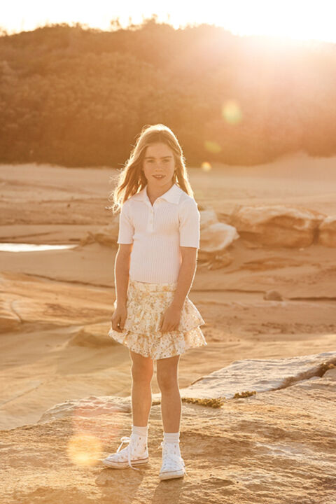 JUNIOR GIRL BRODERIE RUFFLE SKORT in colour VANILLA ICE