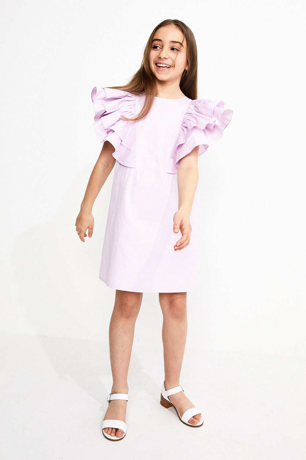 JUNIOR GIRL EBONY SHIFT DRESS in colour GRAY LILAC