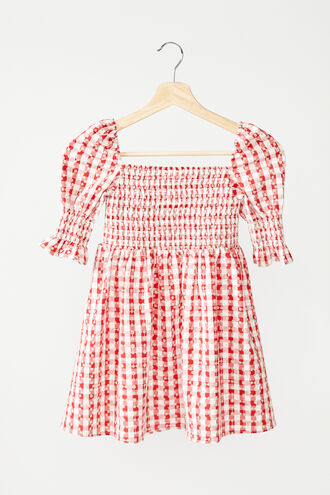 GINGHAM SHIRRED DRESS in colour TANGO RED
