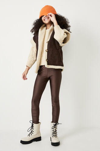 FREYA SHEARLING VEST in colour CHOCOLATE BROWN