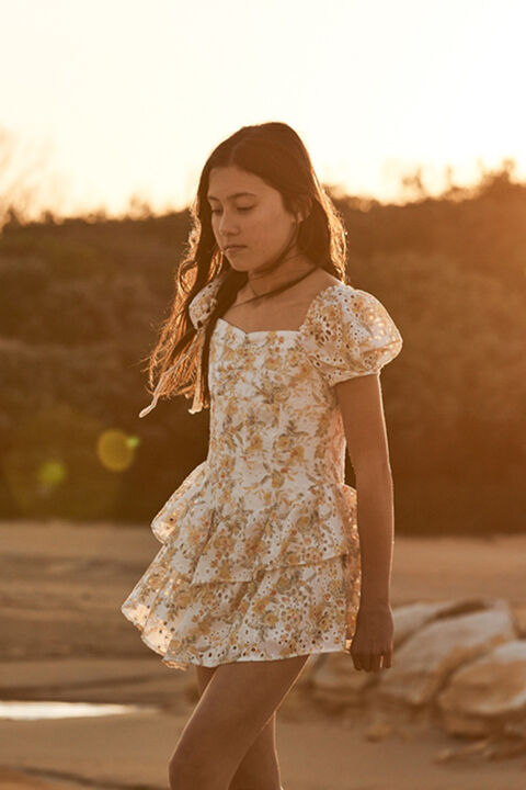 TWEEN GIRL BRODERIE CORSET DRESS in colour VANILLA ICE