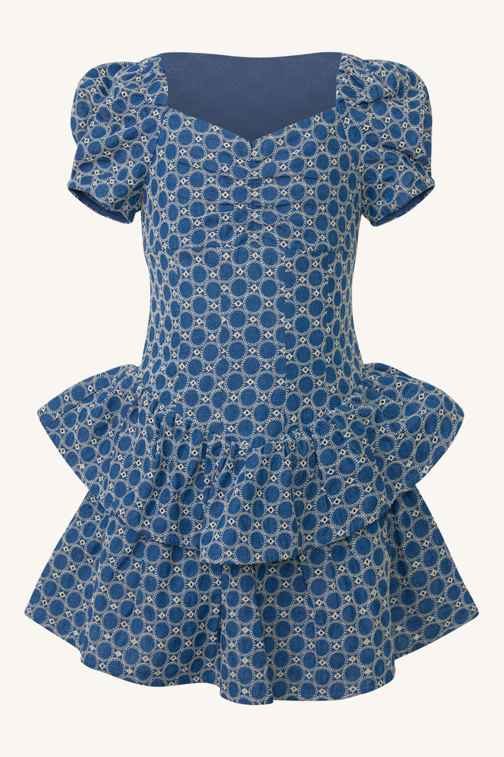 GIRLS BRODERIE CORSET DRESS in colour CHAMBRAY BLUE