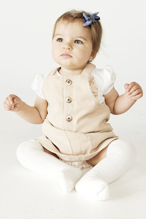 BABY GIRL MARA CORD PINNY in colour GRAY SAND