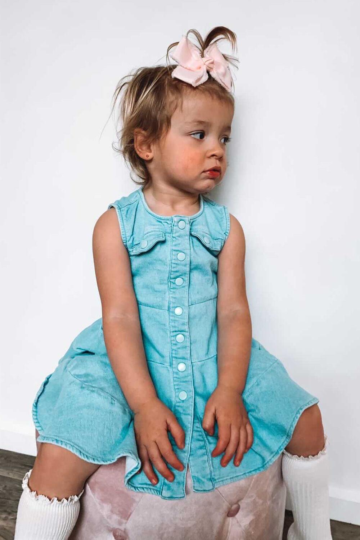 BABY GIRL KATIE DENIM DRESS in colour MIDNIGHT NAVY