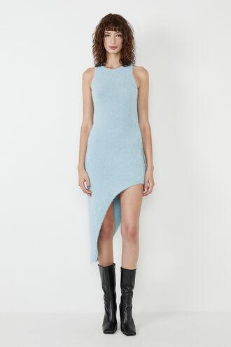 WOMENS FLUFFY KNIT DRESS in colour ASHLEY BLUE