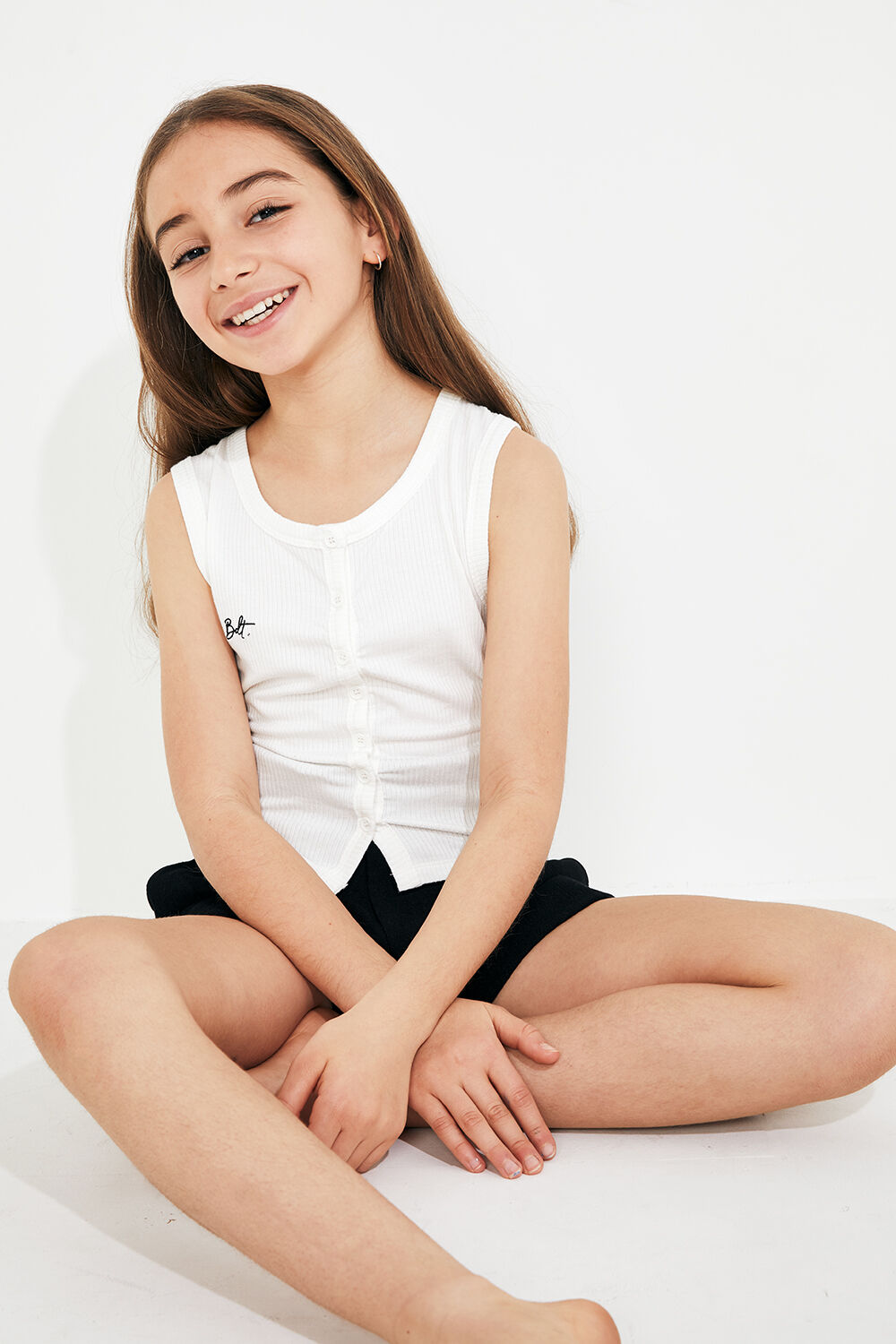 JUNIOR GIRL BUTTON FRONT TANK in colour CLOUD DANCER