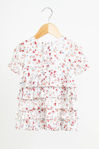 FLORAL RAH RAH DRESS in colour BRIGHT WHITE