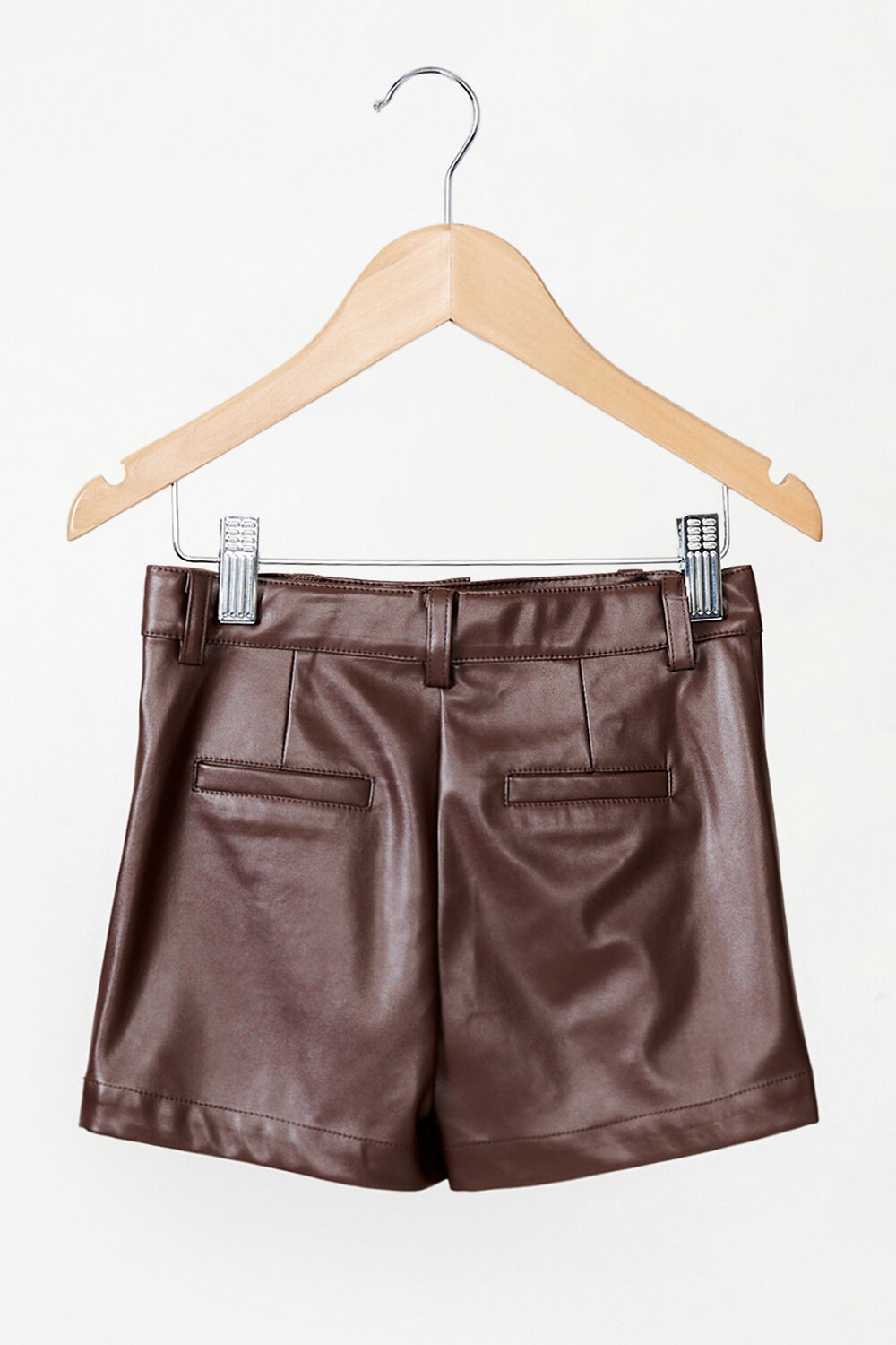 GIRLS VEGAN LEATHER BELLE VEGAN LEATHER SHORT in colour CHOCOLATE BROWN