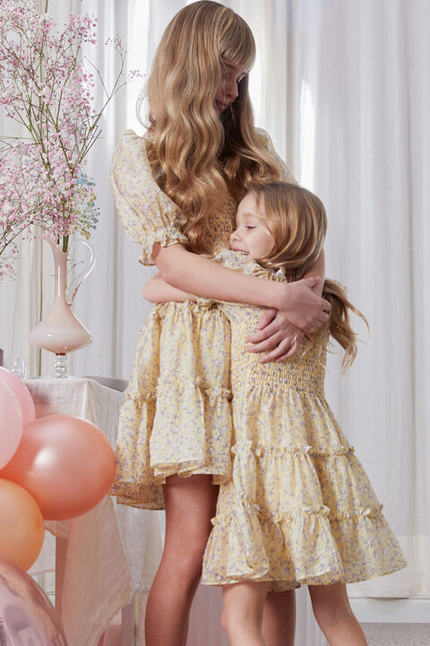 BABY GIRLS HENRI FLORAL DRESS in colour PASTEL YELLOW