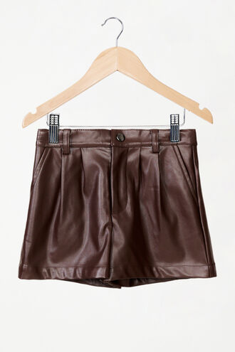 BELLE VEGAN LEATHER SHORT in colour CHOCOLATE BROWN