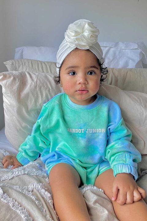 baby girl tie dye grow in colour AQUA GREEN