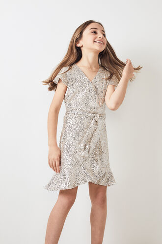SEQUIN WRAP DRESS in colour ANGEL WING