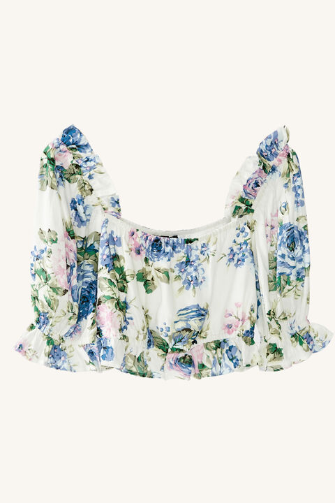 TWEEN GIRL SAMMIE FLORAL TOP in colour CLEMATIS BLUE