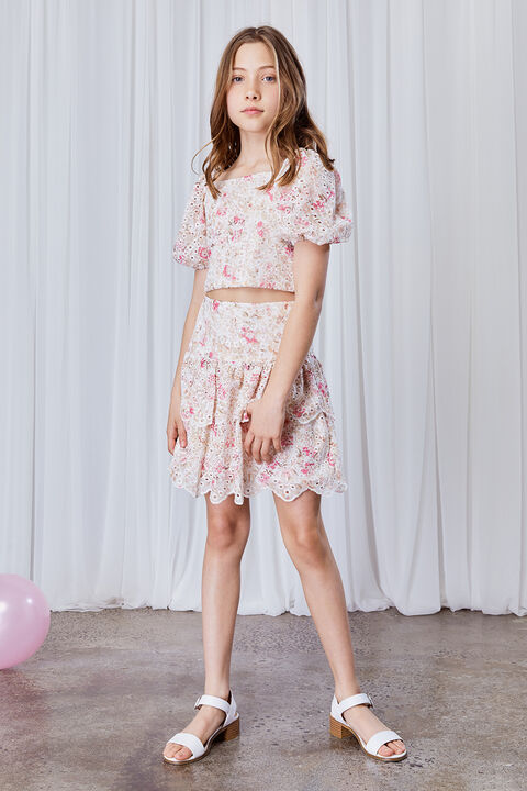 GIRLS AMEILA PRINTED BRODERIE SKIRT  in colour SACHET PINK