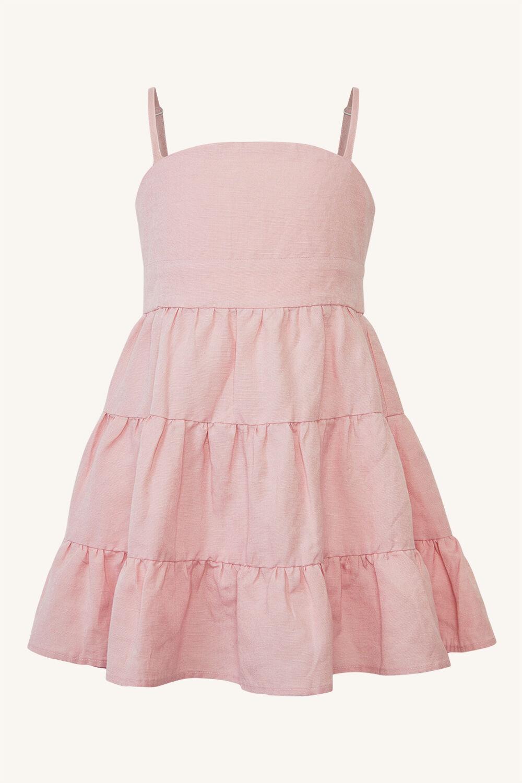GIRLS CHIARA MINI TIERED DRESS in colour SOFT PINK