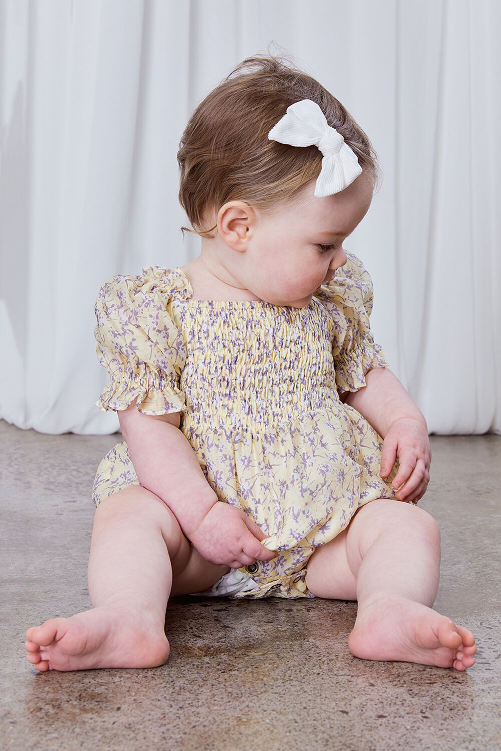 BABY GIRL SHIRRED DITSY FLORAL GROW in colour PASTEL YELLOW