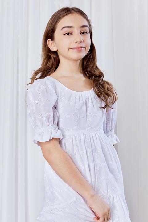 GIRLS TESSA TIERED DRESS in colour CLOUD DANCER