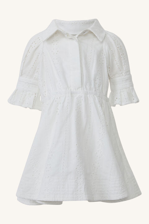BABY GIRL MINI BROIDERIE DRESS in colour CLOUD DANCER