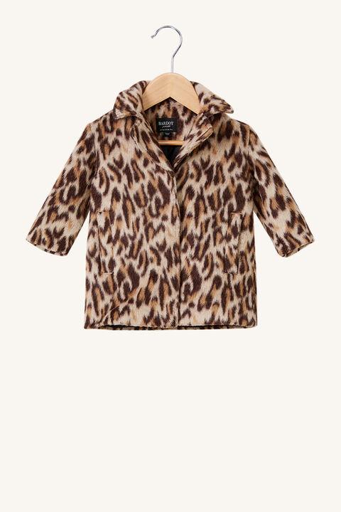 BABY LEOPARD COAT in colour LATTE