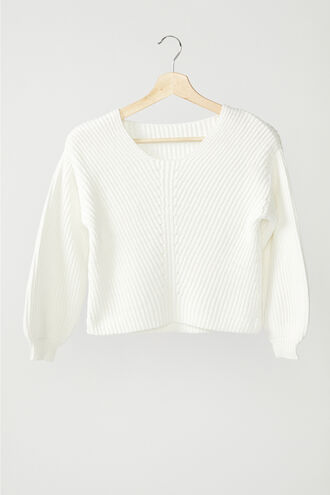 STITCH DETAIL SWEATER in colour CLOUD DANCER