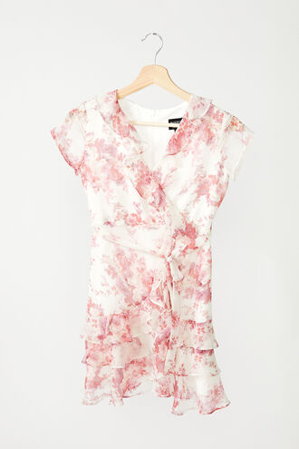 TRIPLE FRILL FLORAL DRESS in colour ROSEWATER