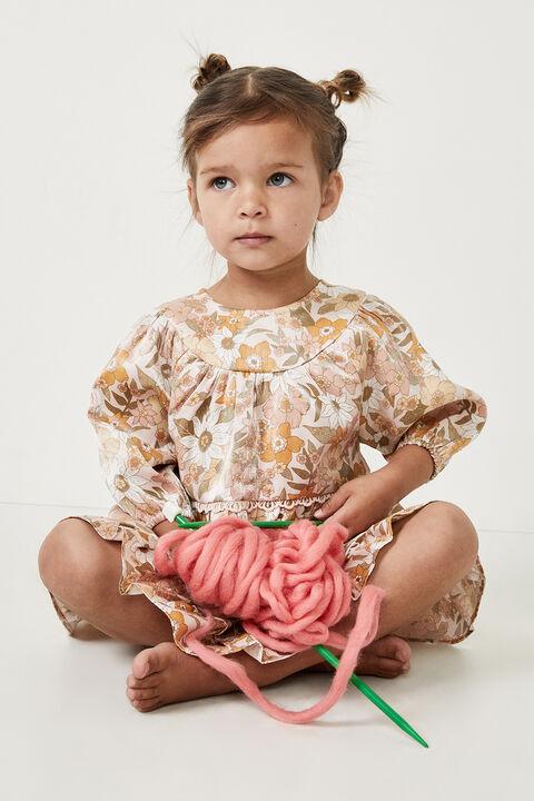 BABY SADIE MINI DRESS in colour ROSE TAN