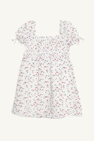 DITSY SHIRRED DRESS in colour SNOW WHITE