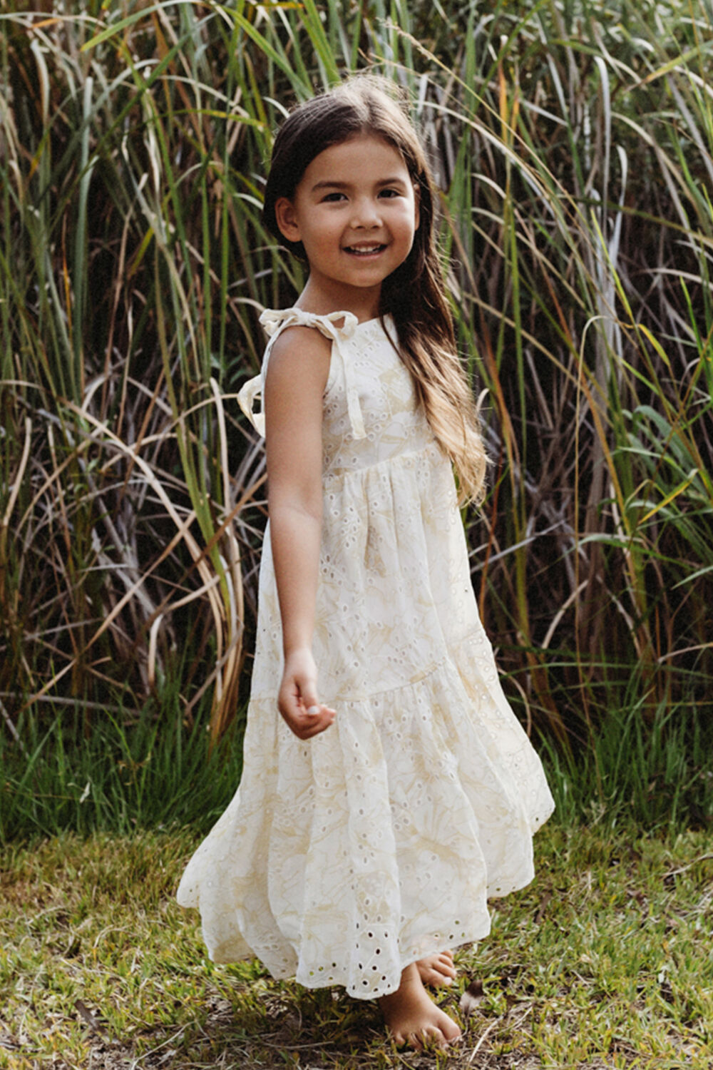 JUNIOR GIRL TIERED FLORAL MAXI DRESS in colour LEMON  FLORAL
