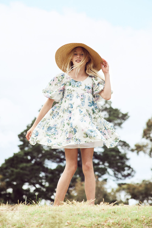 JUNIOR GIRL SOFIA TIER DRESS in colour CLOUD DANCER