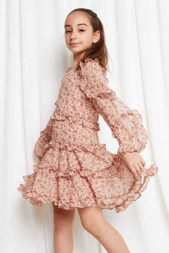HAZEL FRILL DRESS in colour PINK MIST