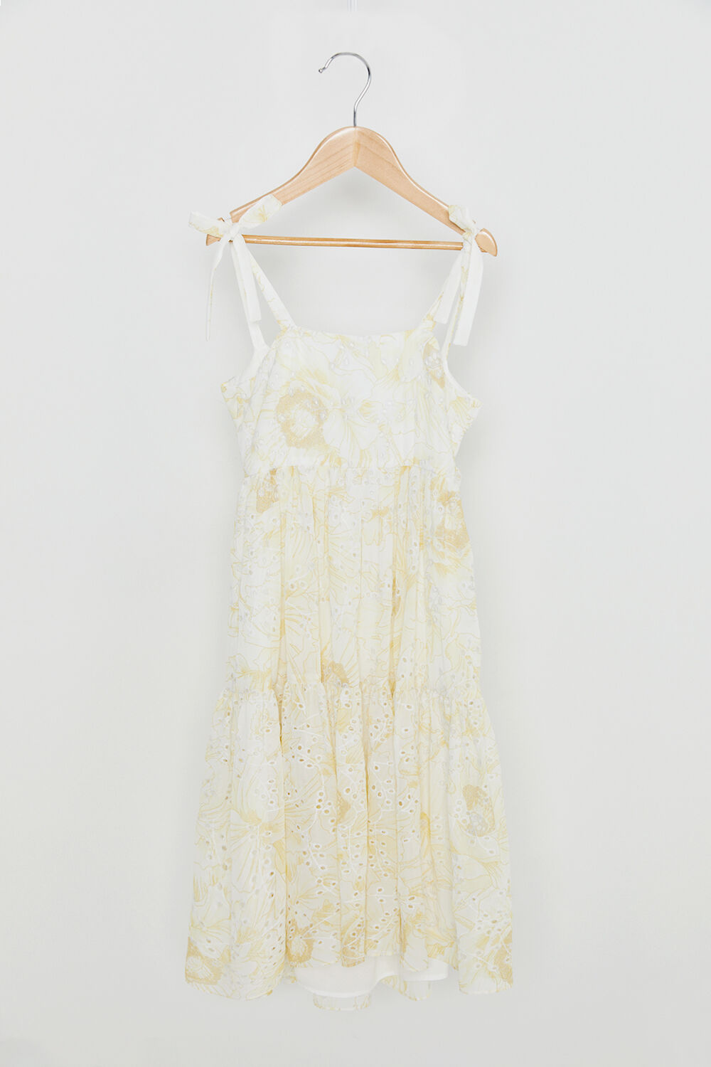 TWEEN GIRL TIERED FLORAL MAXI DRESS in colour LEMON  FLORAL