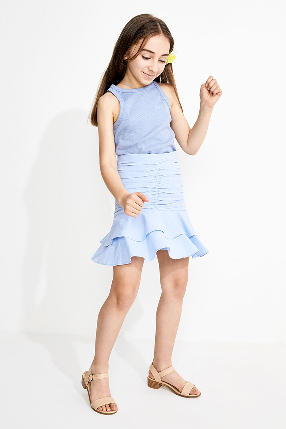 TWEEN GIRL ROUCHED MINI SKIRT in colour CERULEAN